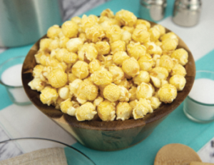 Ship 2 Home Poppin Popcorn Kettle Corn in bowl on table with little containers of salt